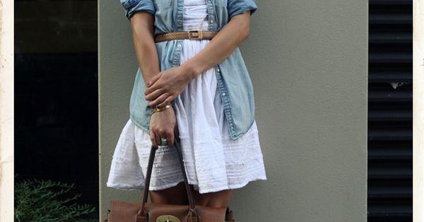 jean shirt over a cute summer dress