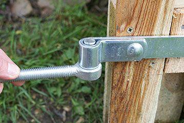Strap Hinge On Gate Being Test Fitted To Peg Bolt Bracket Fence Gate Design Wooden Gates Wood Gate
