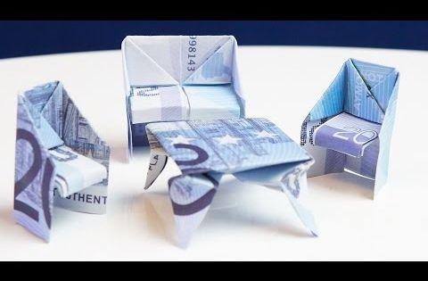 geschenk zum einzug tisch aus geld falten youtube. Black Bedroom Furniture Sets. Home Design Ideas