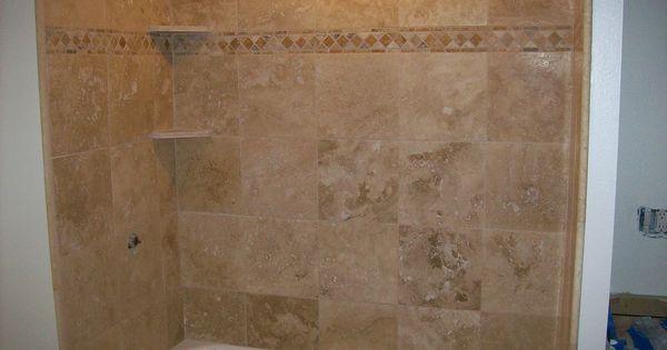 Wood Bathtub Surround Along With Travertine