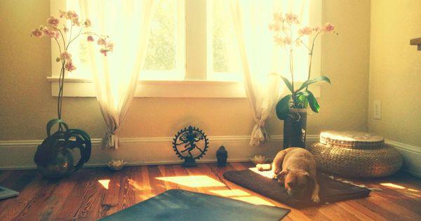 Kathryn budig 39 s yoga room nest pinterest small desks - Yoga meditation room ideas ...