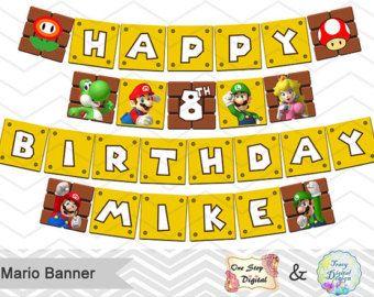 Printable Super Mario Banner Printable Super Mario Inspired Etsy