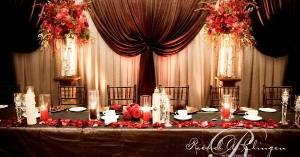 Down The Aisle Head Table Or Sweetheart Table: Head Table. With Purple Or Gold Instead Of Red. Western