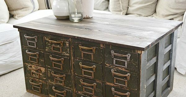 Rustic Green Card Catalog Coffee Table A Great Source For Farmhouse Decor Liz Marie Blog