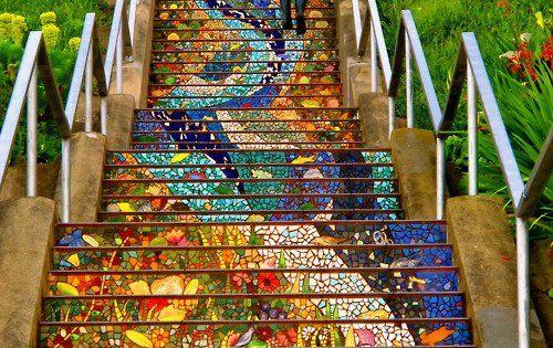 ★☆☆★ anna street art. Mosaic Steps of San Francisco