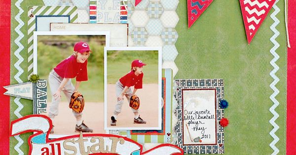 Baseball scrapbook pages - Dont You Love This Layout The Colors And Positioning Of