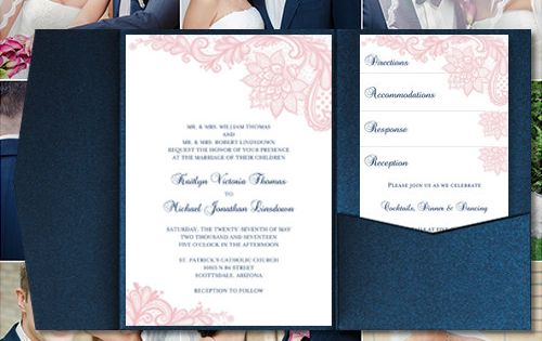 "How Do You Make Your Own Wedding Invitations: Pocket Fold Wedding Invitations ""Vintage Lace"" Blush Pink"