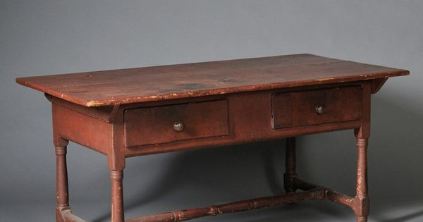 Red painted Pine And Cherry Kitchen Table Probably