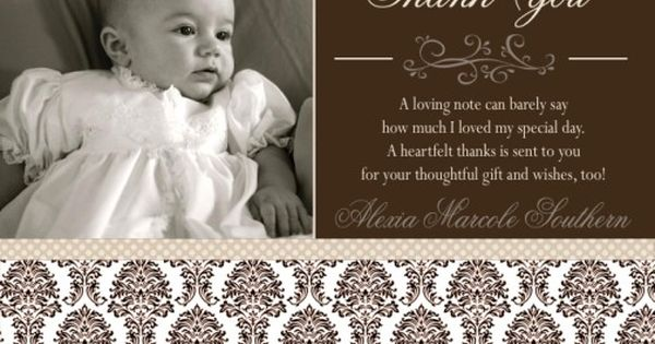 Single Photo Girl's Baptism Thank You Card | Gray, Pink and ...