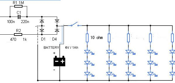 Led Emergency Light Circuit Diagram Without Transformer Led Emergency Lights Emergency Lighting Circuit Diagram