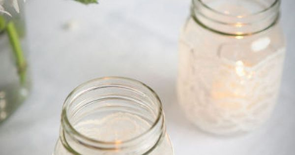 Lace covered mason jar candles