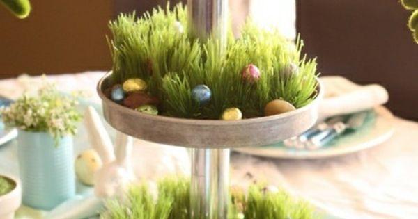 fr hling tischdeko idee gras eier hase pasen pinterest haus decoratie en pasen. Black Bedroom Furniture Sets. Home Design Ideas