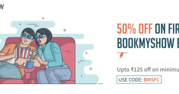 Freecharge Offer Get Flat 50% Flat Cashback On Movie Tickets