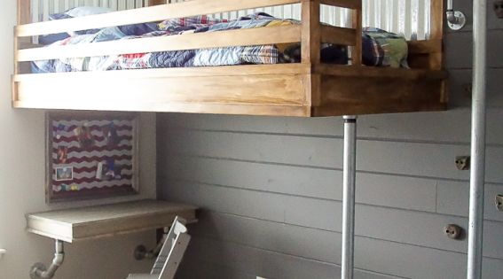 Industrial loft bed with rock wall and fireman 39 s pole industrial loft beds climbing wall and - The fireman pole apartment an incendiary design ...