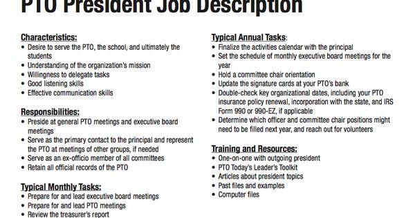 job description for a parent group vice president   pto  pta