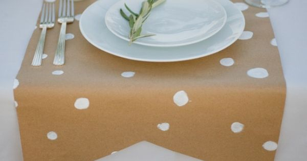 craft paper table runner from pink wallpaper
