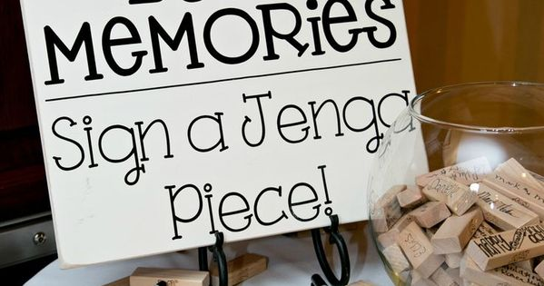 DIY Jenga guest book: Have guests write their names on a jenga