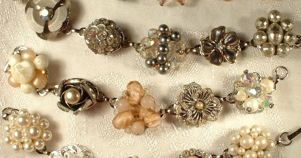 I love this!!! bracelets made with vintage earrings/buttons. Such a good idea!