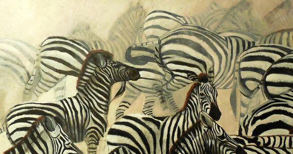 Ana flores cuadro original leo 150x50 manada de cebras - Cuadros de cebras ...
