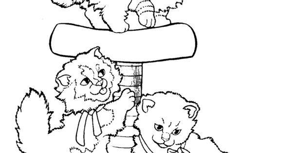 3 cats coloring page