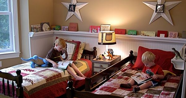 boys' bedroom. LOVE the wrap-around rain gutter book shelves and the beadboard.