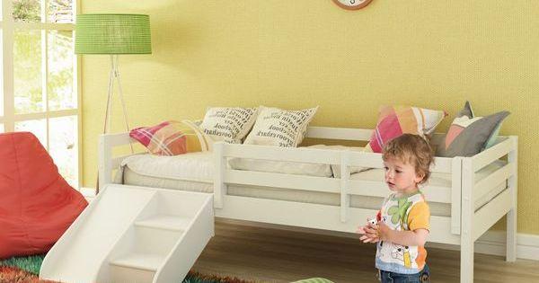 Cama Infantil Prime Com Grade De Protecao E Kit Escadinha