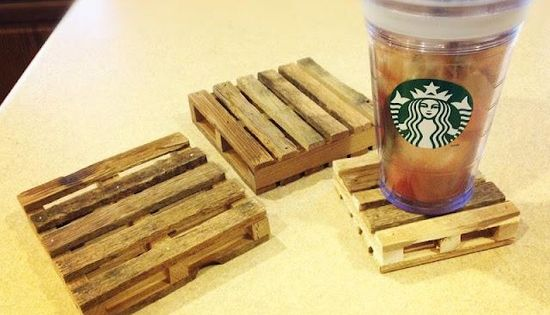 popsicle sticks & hot glue gun - mini pallet coasters!!! Good craft