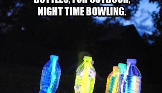 Glowsticks in water bottles = nighttime bowling! How fun for our summer