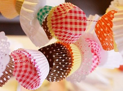 Cupcake liner garland . . . . perfect for a baking party