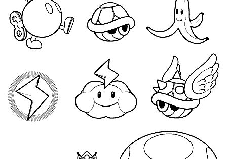 Mario Kart items coloring pages (character templates ...