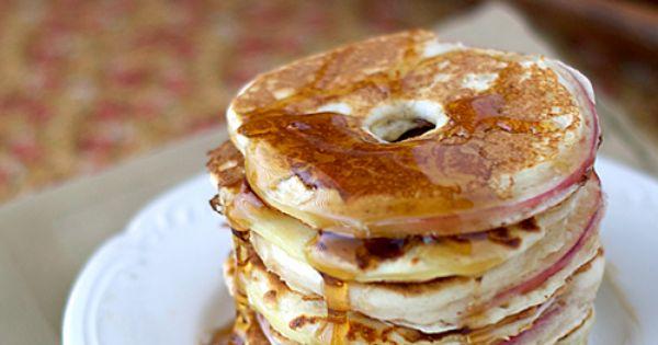 Apple Rings. Dip apple slices in pancake batter. Just use GF pancake