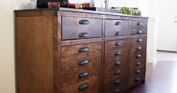 I built this bar cabinet inspired by Restoration Hardwares Printmaker… :: Hometalk