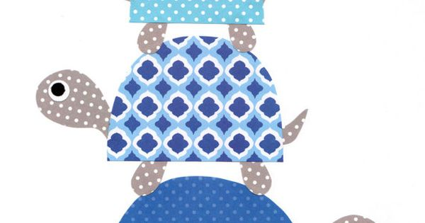 Blue Turtles Nursery Artwork Print Baby Room Kids Room Decoration / Gifts