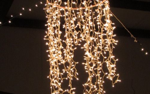DIY: Chandelier ~ 1 (Wham-O) hula hoop (spray painted) + 2 strings