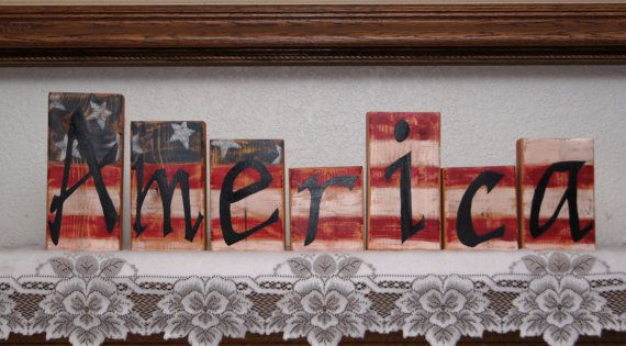 America Wood Letter Blocks Patriotic or 4th of July by Cherables, $32.50