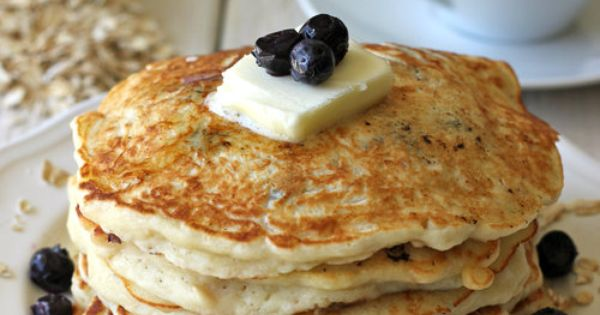 Blueberry Oatmeal Yogurt Pancakes (use whole wheat or health food flour)