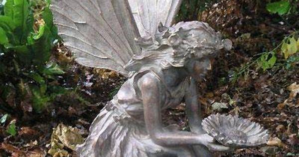 For sale large resin sitting fairy sculpture bronze finish lissandra 39 s wishlist pinterest - Fairy statues for sale ...