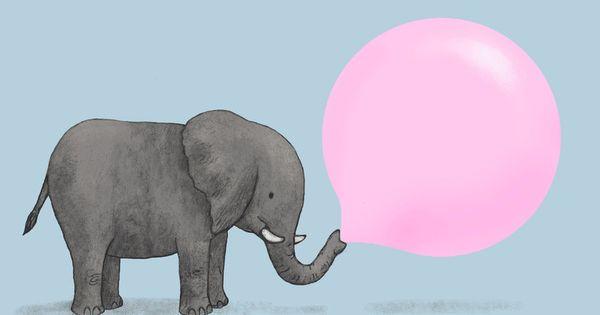 Jumbo Bubble Gum by Terry Fan Illustration Elephant Bubble_Gum Terry_Fan