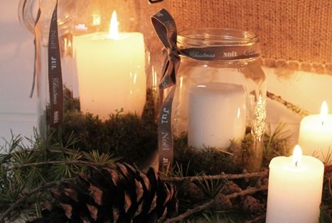 Rustic seasonal candle arrangement.
