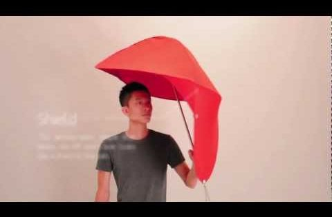 Rain Sheild is a new type of umbrella designed by students Lin