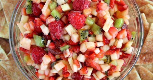 Fruit Salsa with Baked Cinnamon Chips — use what fruits you have