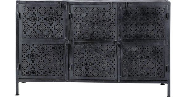 menara buffet 3 portes m tal noir h 80 x l 130 x pr 43. Black Bedroom Furniture Sets. Home Design Ideas