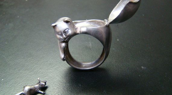 cat and mouse ring from Xidni on Etsy | $290 | Probably