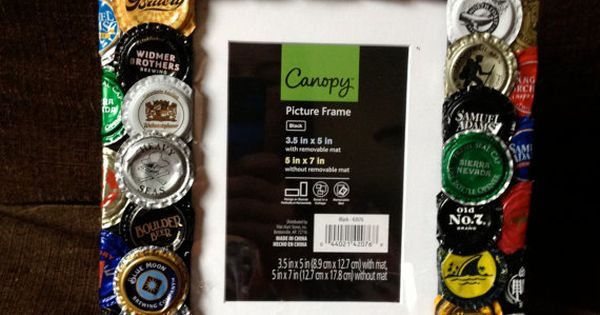 Beer bottle cap picture frame mto craft beer be cool for Beer bottle picture frame