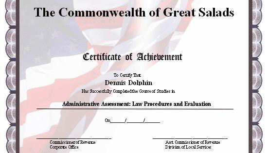 this certificate of achievement has a patriotic design