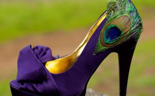 purple peacock heels (hate the shoe, like the idea)