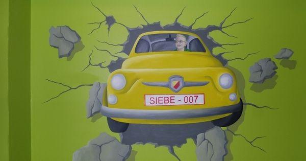 Muurschildering auto dat door de muur rijdt muurschilderingen kinderkamers van eigen ontwerp - Ontwerp muurschildering ...