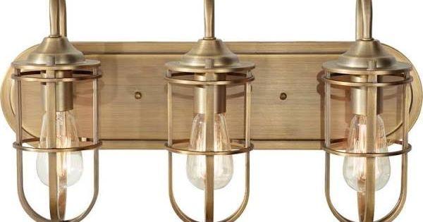 New 3 Light Bathroom Vanity Lighting Fixture Antique Brass: Brushed Gold Bathroom Light Fixture