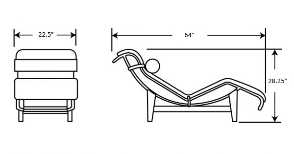 Dimensions for lc4 chaise lounge 4x4 pinterest for Chaise dimensions
