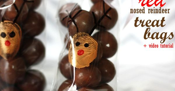 Rudolph cello treat bags